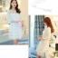 ชุดเดรสผ้าไหมแก้ว organza ปักด้วยด้ายลายดอกไม้สีขาว สวยมากๆ thumbnail 4