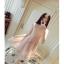ชุดเดรสสวยๆ ตัวชุดเป็นผ้ามุ้ง สีชมพู เย็บซ้อนด้วยผ้าปักลายใบไม้ เข้ารูปช่วงเอว thumbnail 2