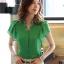 เสื้อทำงาน แฟชั่นเกาหลี สีเขียว คอวีประดับมุดเงิน แขนระบาย กระดุมผ่าหน้า เสื้อผ้าสาวทำงาน ราคาถูก สวยมากๆครับ (พร้อมส่ง) thumbnail 2
