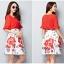 แฟชั่นเกาหลี set เสื้อและกระโปรง สีแดง thumbnail 5