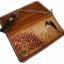 กระเป๋าสตางค์ยาว สีน้ำตาลเข้ม รูปม้าและ ช่อไม้ แบบ 2 พับ พร้อมโซ่ thumbnail 4