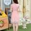 ชุดเดรสสุดหรู ตัวเสื้อผ้าถัก ลายดอกไม้ สีชมพูโอรส thumbnail 5