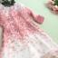 ชุดเดรสผ้าไหมแก้ว organza สีชมพู ลายกลีบดอกกุหลาบ สีชมพูแดง thumbnail 9