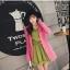 ชุดเดรสแฟชั่น ผ้าโพลีเอสเตอร์ สีเขียว (เนื้อผ้าคล้ายชีฟอง แต่หนากว่าชีฟอง) thumbnail 9