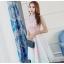 ชุดเดรสสวยๆ ตัวเสื้อผ้าลูกไม้เนื้อดีสีชมพู ชายเสื้อเฉียงเหมือนแบบ thumbnail 2