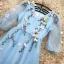 ชุดเดรสสวยๆ ผ้าไหมแก้ว organza เนื้อทรายสีฟ้า คอวี thumbnail 11