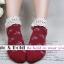 [สินค้าขายดี ลดพิเศษ 40 บาท ] ถุงเท้าสไตล์วินเทจลายดอกไม้ เหลือ สีเทาดำ thumbnail 5