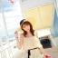เสื้อเกาะอก แฟชั่นเกาหลี ผ้าชีฟองอัดพลีตเล็กๆ สีครีม thumbnail 3