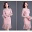 ชุดเดรสสวยๆ ผ้าลูกไม้เนื้อดี สีชมพู แขนยาว เข้ารูปช่วงเอว thumbnail 4