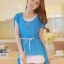 ชุดเดรสสั้น แฟชั่นน่ารัก ชุดเดรสสั้น สีฟ้า เสื้อตัวนอกผ้าชีฟอง ตัวในผ้ายืดเข้ารูปสีขาว เย็บไหล่ติด พร้อมสร้อยและเข็มขัดน่ารักๆ สวยมากๆ ครับ thaishoponline พร้อมส่ง thumbnail 1
