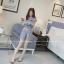 แฟชั่นเกาหลี set เสื้อและกางเกง ผ้าลูกไม้ถักลายใบไม้สีฟ้าอมเทา น่ารักมากๆ thumbnail 6