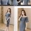 ชุดเดรสสั้น ผ้าโพลีเอสเตอร์ผสม สีน้ำเงินอมเทา ไหล่ป้าน แขนเสื้อทรงระบาย เดรสทรงตรง thumbnail 12