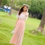 แมกซี่เดรสยาว ผ้าชีฟองเนื้อดี สีชมพูโอรส thumbnail 2