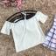 ชุดว่ายน้ำทรีพีช ตัวเสื้อสีขาวครีม เปิดไหล่ ปิดต้นแขน ชายปล่อย มีเชือกผูกที่คอเสื้อ thumbnail 8