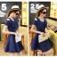 ชุดเดรสน่ารัก ผ้าชีฟองชนิดเนื้อทราย สีน้ำเงิน thumbnail 4