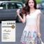 ชุดเดรสน่ารัก แฟชั่นเกาหลี ตัวเสื้อผ้าชีฟองเนื้อดี สีขาว thumbnail 1
