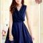 DRESS ชุดเดรสแฟชั่น ผ้าชีฟอง สีน้ำเงิน ใส่ทำงาน สม็อคช่วงอกด้านหลัง ใส่ออกงานได้ น่ารักมากๆ thaishoponline thumbnail 3