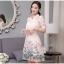 ชุดเดรสน่ารัก ตัวเสื้อผ้าไหมแก้ว organza สีขาวทอลายรูปร่มสีครีม และสีโอรส thumbnail 4