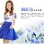 ชุดเดรสสั้น ผ้าชีฟอง เนื้อดีสีขาว ปักลายดอกไม้ที่หน้าอกและแขนเสื้อสีน้ำเงิน คอและปลายแขนเสื้อจั๊ม thumbnail 4