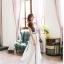 ชุดเดรสยาว Yi Qing โบฮีเมียนเดรส ผ้าชีฟอง ตัวเสื้อพิมพ์ลายกราฟฟิกสีสดใส กระโปรงสีขาว แต่งเส้นหยักสีดำสวยมากๆ thumbnail 3