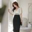 ชุดเดรสสวยๆ ผ้าคอตตอนผสมเนื้อนิ่ม ยืดหยุ่นได้ดี ตัวเสื้อทรงปีกค้างคาว คอวี สีขาว thumbnail 2