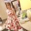 ชุดเดรสแขนกุด ผ้าชีฟอง ชนิดเนื้อย่นในตัว พิมพ์ลายดอกไม้โทน สีแดง thumbnail 4
