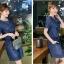 ชุดเดรสยีนส์ สีน้ำเงินเข้ม แขนสั้น มีกระเป๋าเสื้อที่หน้าอก thumbnail 5