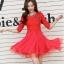 ชุดเดรสแฟชั่น สีแดง ผ้าลูกไม้อย่างดี หน้าอกเสื้อแต่งด้วยผ้าลายดอกไม้ ประดับด้วยมุก สีแดง thumbnail 3