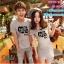 ชุดคู่รัก เสื้อยืดและเดรส สีเทา ผ้า Cotton 100% เนื้อดีเยี่ยม thumbnail 4