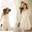 DRESS ชุดเดรสแฟชั่นเกาหลี แขนกุด ใส่ไปงานแต่งงาน น่ารัก ผ้าลูกไม้ + ผ้าชีฟอง สีเบจ ตกแต่งไข่มุก สามารถใส่ออกงานได้ สวยมาก thumbnail 5