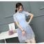 ชุดเดรสออกงาน ตัวเสื้อผ้าลูกไม้ชนิดเนื้อนิ่ม ยืดหยุ่นได้ดี สีฟ้า คอจีน แขนสั้น thumbnail 11
