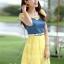 ชุดเดรสสวยๆ เดรสตัวเสื้อผ้ายีนส์ อกและไหล่ผ้าลูกไม้แบบนิ่มสีเหลือง ยืดหยุ่นได้ดี กระโปรงผ้าไหมแก้วสีเหลือง thumbnail 5