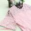 ชุดเดรสผ้าลูกไม้ สีชมพูตุ่น รอบคอเสื้อ ปลายแขนเสื้อ และชายกระโปรงแต่งด้วย ผ้าถักโครเชต์รูปดอกไม้ thumbnail 11