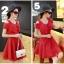 ชุดเดรสสั้น ผ้าชีฟอง ชนิดเนื้อทราย สีแดง thumbnail 3