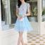 ชุดเดรสสวยๆ ตัวเสื้อผ้าลูกไม้ ปักสีฟ้า พิมพ์ลายดอกกุหลาบ thumbnail 5