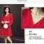 ชุดเดรสสีแดง ผ้าโพลีเอสเตอร์ผสม แขนยาว ดีไซน์เก๋ที่ปลายแขนเสื้อ thumbnail 3
