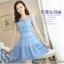 ชุดเดรสเกาหลี ผ้าไหมแก้ว สีฟ้า ปักด้วยด้ายลายดอกไม้ มีซับใน สวยมากๆ thumbnail 4