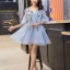 ชุดเดรสสวยๆ ผ้าไหมแก้ว organza เนื้อทรายสีฟ้า คอวี thumbnail 1