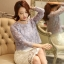 เสื้อผ้าถักโครเชต์ แฟชั่นเกาหลีมาใหม่ สีเทาอมฟ้า แขนยาว ชายปล่อย thumbnail 8