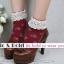 [สินค้าขายดี ลดพิเศษ 40 บาท ] ถุงเท้าสไตล์วินเทจลายดอกไม้ เหลือ สีเทาดำ thumbnail 4