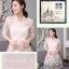 ชุดเดรสน่ารัก ตัวเสื้อผ้าไหมแก้ว organza สีขาวทอลายรูปร่มสีครีม และสีโอรส thumbnail 3