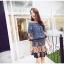 ชุดเดรสสั้น แฟชั่นเกาหลี ผ้าฝ้าย สีน้ำเงิน พิมพ์ลาย แขนยาว ไหล่ผ้าถัก มียางยืดด้านใน เอวและปลายแขนเสื้อจั๊ม thumbnail 2