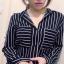 เสื้อแฟชั่น สุด Chic เสื้อเชิ้ต แขนยาว ลายทาง รหัส SU9014_1 thumbnail 2