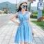 ชุดเดรสผ้าชีฟอง สีฟ้า แขนกุด คอวี thumbnail 10