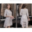 ชุดเดรสสวยๆ ตัวชุดผ้าโปร่งเนื้อละเอียด ตัวผ้าเดินเส้นผ้าริบบิ้นสีขาวโค้งหยักตามแบบ thumbnail 9