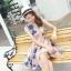 ชุดเดรสออกงาน ผ้าปักริบบิ้นเป็นรูปดอกไม้โทนสีน้ำเงิน และสีชมพูกะปิ แขนกุด thumbnail 9