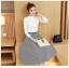 เสื้อผ้าแฟชั่นเกาหลี set เสื้อสีขาว และกระโปรงลายทางขาวดำ thumbnail 4