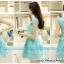 ชุดเดรสเกาหลี ตัวเสื้อผ้าถักลายดอกไม้ สีเขียว กระโปรงผ้าไหมแก้ว ปักด้วยด้ายลายดอกไม้ thumbnail 6
