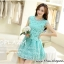 ชุดเดรสเกาหลี ตัวเสื้อผ้าถักลายดอกไม้ สีเขียว กระโปรงผ้าไหมแก้ว ปักด้วยด้ายลายดอกไม้ thumbnail 4