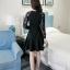 ชุดเดรสสีดำ ผ้าคอตตอนผสมโพลีเอสเตอร์เนื้อดีมาก แขนยาว ทรงสวย thumbnail 2